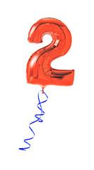 Roter Luftballon mit Geschenkband - Nummer 2