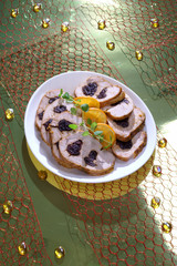 Turkey with prunes in a Christmas arrangement