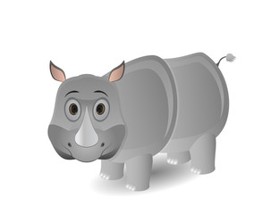 cute cartoon isolated rhino illustration