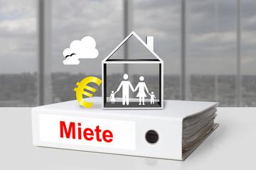 Weißer Aktenodner Miete Familie Haus Euro Symbol