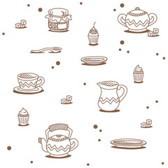 Tea pattern white-beige