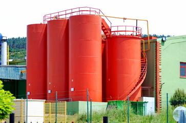 Red grain silos