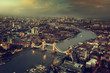 canvas print picture - London aerial view with Tower Bridge, UK