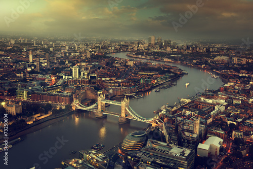 London aerial view with Tower Bridge, UK - 73250604