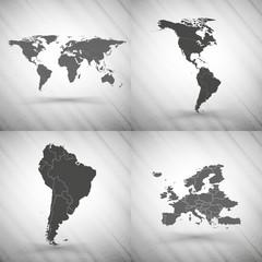 World maps set on gray background, grunge texture vector