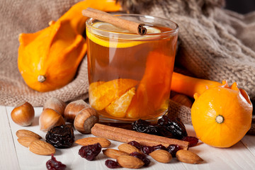 Winter hot drink with oranges