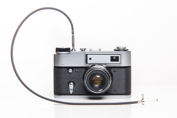 Classic 35mm old analog camera with cable release