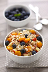 Muesli with berries and fruits