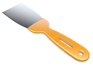 Metal spatula isolated on a white background