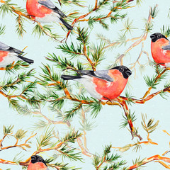 seamless texture with pine branch and bird watercolor