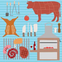 Vector symbols of Argentine asado
