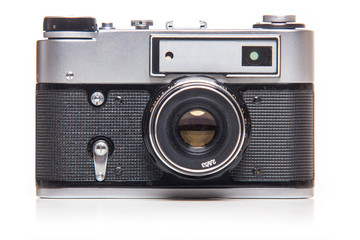 Classic 35mm old analog camera on white