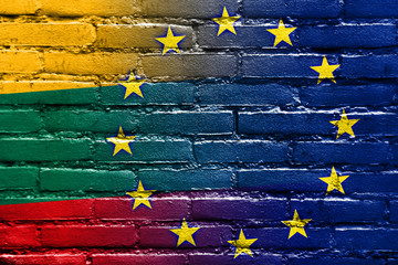 Lithuania and European Union Flag painted on brick wall
