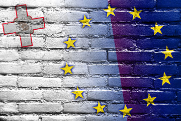 Malta and European Union Flag painted on brick wall