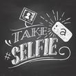 Take a selfie on blackboard - 73254024