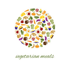 vegetarian meals icons in circle