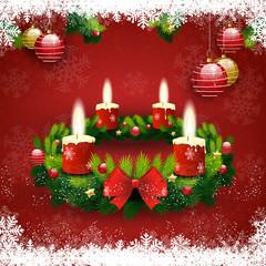 Adventskranz vier Kerzen leuchten