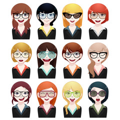 business woman avatar set