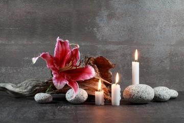 Stillleben : Lilienblüte und Kerzen
