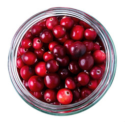 Ripe cowberry in a glass jar