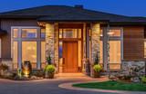 Elegant front door of home with welcome mat - 73255081