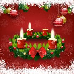 Adventskranz drei Kerzen leuchten
