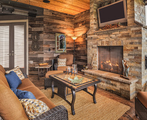 Outdoor Patio with Couch and Fireplace