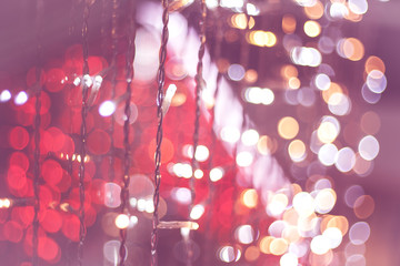 christmas bokeh light, red and pink abstract background