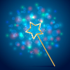 Magic wand on blue background