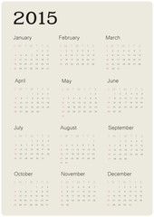Calendar 2015 with simple design, vector