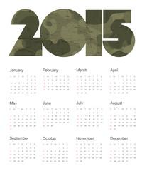 Calendar 2015 Colorful. Vector.