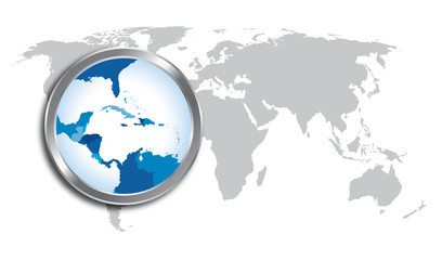 World map with Caribbean region magnified by loupe