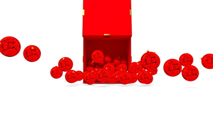 Christmas balls spill from a red box. 3D rendered.