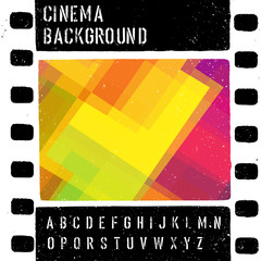Grunge colorful cinema design template. Vector