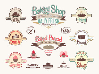 Vintage bakery badges, logos and labels