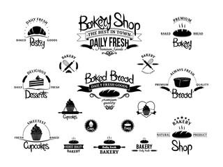 Set of vintage bakery emblems, labels and logos