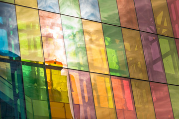 Montreal Convention Center colored windows reflections