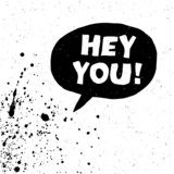 Hey You! Exclamation Words Vector Illustration. Black And White