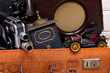 Leinwandbild Motiv Antike Sachen im Koffer, Oldtimer,Mühle,Kamera