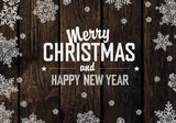 Fototapety Christmas Greeting On Wooden Planks Texture. Vector
