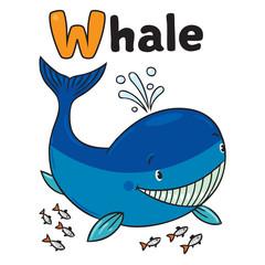 Funny little whale. Alphabet W