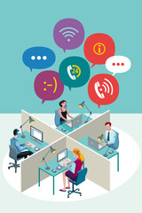 Office Workers with Speech Bubbles