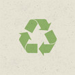 Recycled symbol on paper texture. Design set, Vector