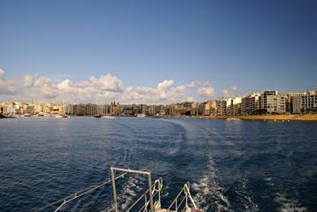 Beautiful panorama of the waterfront promenade of  Malta Island