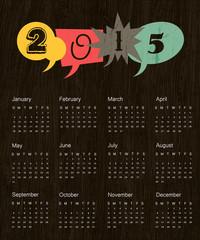 Vintage calendar 2015. Vector.