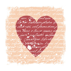 Romantic Design Template. Handwritten texture, heart shape, grun