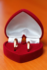 Wedding rings, gift box  for the bride.