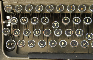 QWERTY vintage retro typewriter keyboard