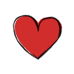 Red heart on white background, vector