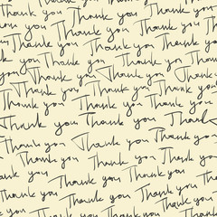 "Hand-drawn ""Thank you"" seamless pattern. Vector"